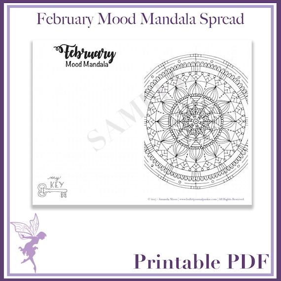 Bullet Journal February 2017 Mood Mandala Printable Pdf