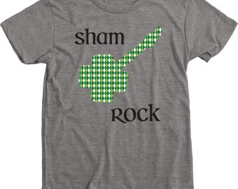 Sham Rock Guitar St. Patrick's Day Kids Tri-blend T-Shirt