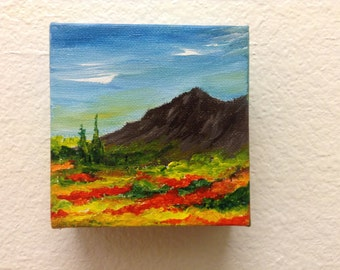 Mini Abstract Art, Acrylic painting, Original Art, Landscape, Gift , Wall hanging, Gift under 30 dollars