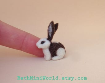 Dollhouse Bunny Miniature- 1:12 scale- Needle felted Rabbit with spots- OOAK- Ready to Ship