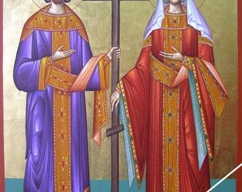 Saints Constantine and Helen, orthodox icon, original, byzantine, οι Άγιοι Κωνσταντίνος και Ελένη, hand painted on request, βυζαντινή εικόνα