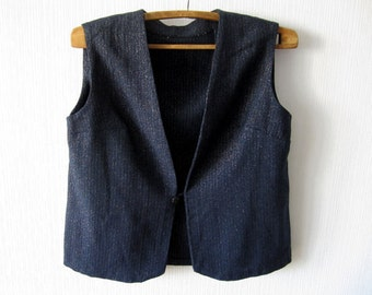 Dark Blue Womens Vest With Metallic Threads Classic Comfortable Romantic Waistcoat XL Navy Blue Gift to Mom 102