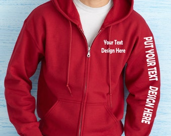 Customized Full Zip Hooded Sweatshirt. Available in Adult size and Youth size!