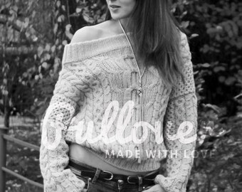 Hand knit chunky off-shoulder cable knit sweater Stylish hand knitted pullover sweater Made to order Oversized jumper sweater Cable pattern