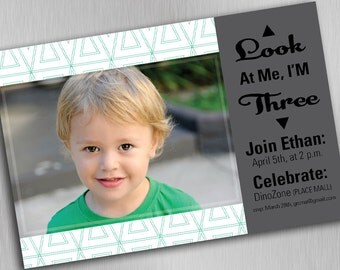 Personalized Creative Birthday Invitation, Three Years Old. Digital Download, Custom, Print at Home