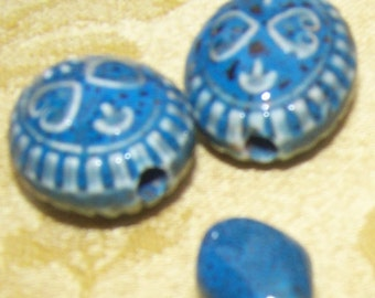 Mixed Lot of 9 BLUE CERAMIC BEADS