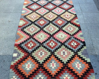 Turkish Vintage Kilim Rug, Handwoven Traditional Kilim Rug, Handmade Decorative Kilim Rug