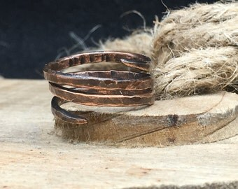 Men's Hammered Copper 3-Turn Spiral Ring