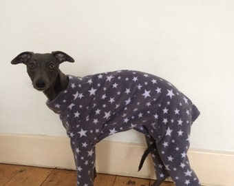Grey Star Onesie/Pyjamas Fleece Jumper 4 Sizes Italian Greyhound, Whippet, Lurcher, Small Greyhound