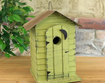 Wooden Outhouse Birdhouse With Rustic Tin Roof - 3 Assorted Colors Red, Green, White
