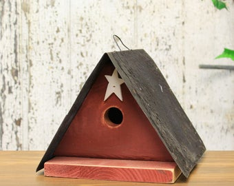Wooden A-Frame Birdhouse With Rustic Tin Roof - 2 Assorted Colors Red, White