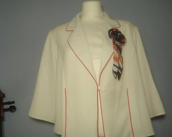 True vintage 50s Cape Blazer XL jacket jacket blouse blouse white brooch red piping