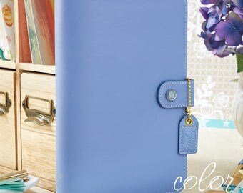 A5 Planner Binder, Webster's Pages Periwinkle Blue Planner Binder, A5 Binder OR Personal Size Binder, Notebook Binder, Leather Journal, Gift