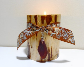 log candle holder log pillar candles wood pillar candles log cabin decor