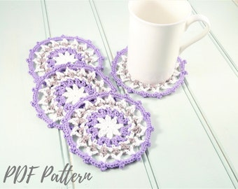 Crochet mandala coasters PDF PATTERN, quick and easy crochet gift, boho crochet home pattern