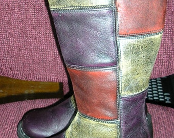 Vintage patchwork Doc Marten boots 80s hippie boho UK3 US5 MINT Made in England