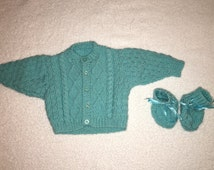 Handmade Knitted Cardigan & Booties