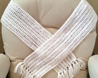 White, Long Crochet Scarf with Fringe - Handmade Women's Winter Wrap - Great Gift or Stocking Stuffer!