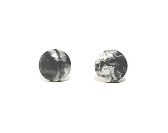 Gray Marbled Concrete Earring