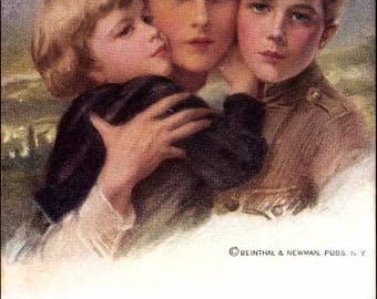 """NM 1911 Artist Philip BOILEAU """"The Coming Storm"""" Postcard; Mother Protecting her 2 Children; c. Reinthal & Newman"""