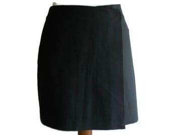 Vintage Wrap Mini skirt, gray mini skirt, classic mini skirt, wrap skirt, size M