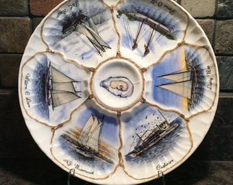 Oyster Schooners of the Delaware Bay, oyster plate, china painting, porcelain painting, oyster