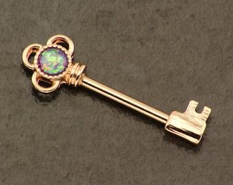 Opal Key Nipple Ring Piercing. Rose Gold Nipple Jewelry. 14 Gauge Nipple Bar. Fire Opal Nipple Shield. Nipple Barbel. Gold Body Jewellery.