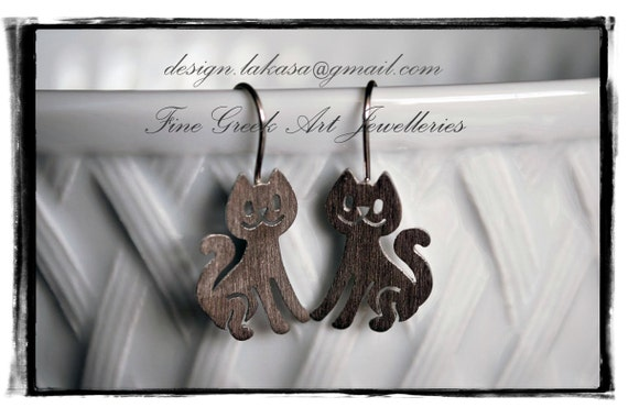 Cat earrings sterling silver white gold plated jewelry Fine Greek Art Best gift ideas for her birthday anniversary girl christmas mother