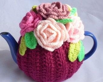 Handmade Flowers teapot cosy / Novelty teapot cosy/Knitted teapot cosy/Handmade teapot cosy/Teapot cozy/Flowers /Knitted flowers/ Cottage