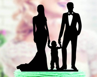 Wedding Cake Topper Silhouette Groom and Bride with little Boy , Family Wedding Cake Topper Bride and Groom With Little Boy, cake topper boy