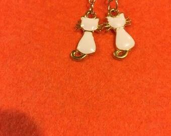 Kitty earrings , gold and white kitty earrings,kitty lovers earrings