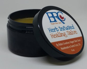 Vegan Healing Salve infused with Comfrey, Calendula, Plantain, Rosemary, and Yarrow - Great First Aid salve