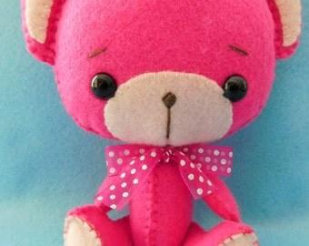 Felt Teddy bear pink and Fuchsia