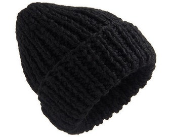 Very Thick Chunky Hat Thick Hat Black Secret beanie hat  chunky hand knit hat