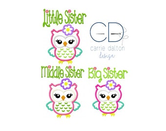 Sister Owl Applique Design, Owl Embroidery Design, Sister Embroidery Design, Sister Applique Design, Sister Owl Applique