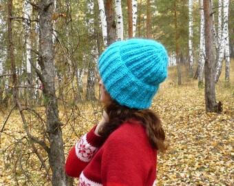 Blue volume fluffy hat
