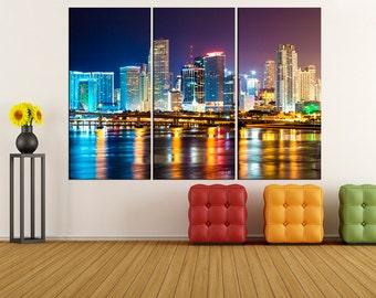 miami skyline canvas wall art Print, Miami wall art canvas photo print, extra large wall art, iki38