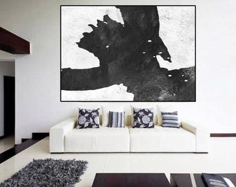 Minimalist huge large Black and White Abstract painting, modern original Painting on canvas, large Abstract Painting, large wall Art,