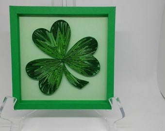 Quilled Shamrock Wall Décor for St. Patricks Day. Includes coordinating hand-made paper frame and gift package.