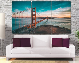 San Francisco Canvas Print, California Wall Art, Handmade Canvas Photo of Golden Gate Bridge, High Quality Modern Decor City print LC044