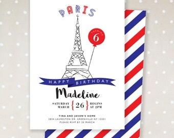 Paris Theme Birthday Invitation. Eiffle Tower. Parisian. Girl Birthday Invitation. DIY. Digital file