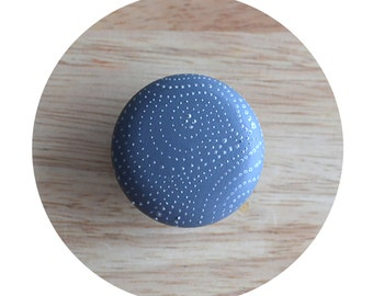 Grey-Blue Knob - Painted Drawer Knobs - Wood Knob - Cabinet Knobs - Grey Silver Dots Dresser pulls - Drawer Pulls - Patterned Handle