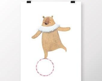 Circus Bear Printable ,Wall Art, Printable, Digital Download, Illustration Print, DIGITAL FILE, Kids Room Art, Nursery Printable
