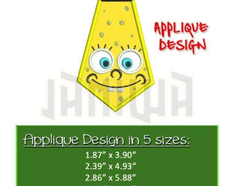 Sponge Bob Applique Embroidery Design (6 sizes) Tie SpongeBob Sea Cartoon