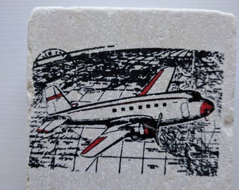 Airplanes Coasters, set of 4, Natural Tumbled Stone, Rustic, home decor