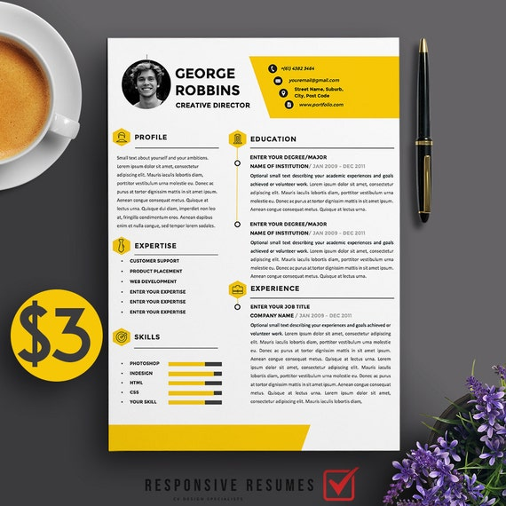 Professional 3 Page Resume Template / CV Extra Page Cover