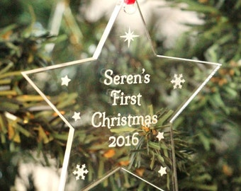 Personalised Baby's First Christmas Decoration, Perspex Baby's First Christmas Tree Decoration, Baby's First Christmas, Perspex decoration