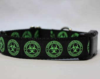 Zombie Outbreak Response Team adjustable dog collar - glow in the dark