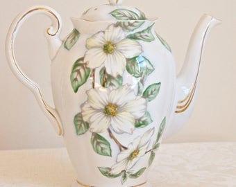 Tuscan vintage Dogwood floral teapot coffee-pot. Fine bone china Made in England. For Tea & Coffee lovers, tea party, housewarming, wedding