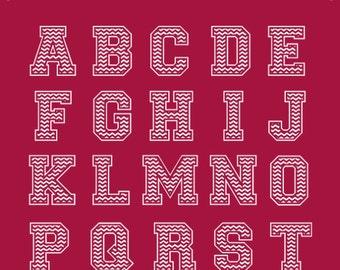Chevron Varsity Collegiate Monogram Alphabet, Sport Baseball Softball  Monogram font Letters, Collegiate sport alphabet, Monogram Font.